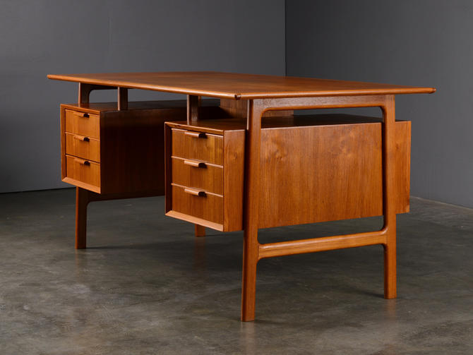 5ft Mid Century Teak Desk with Drawers Danish Modern by MadsenModern