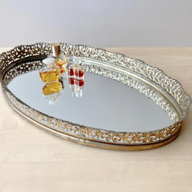vintage brass vanity tray - ornate oval mirror tray by ionesAttic