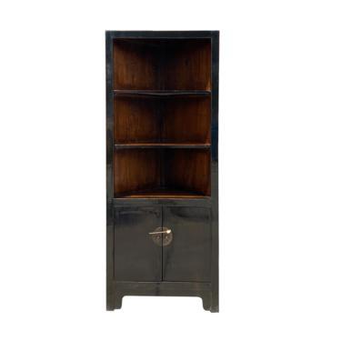 Distressed Black Lacquer Triangle Corner Display Cabinet cs6946E by GoldenLotusAntiques