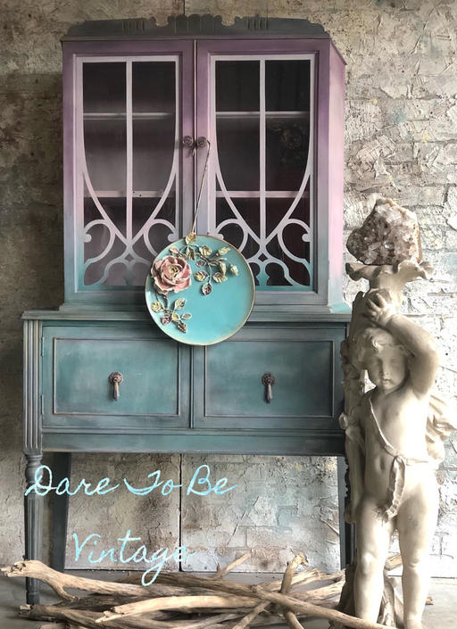 SOLD Vintage Buffet China Cabinet - Hand Painted Armoire - Vintage Server Hutch - Shabby Chic Cabinet - Boho Chic Armoire by DareToBeVintage
