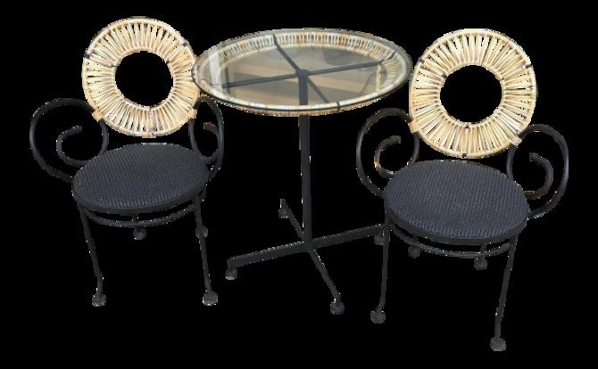 Mid-Century Modern Arthur Umanoff Cafe Table and Chair Set – 3 Pieces