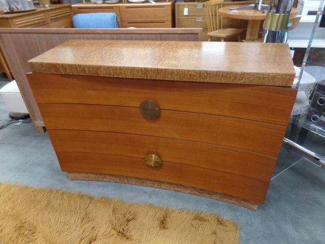 Mid-Century Modern four drawer burlwood dresser large brass pulls