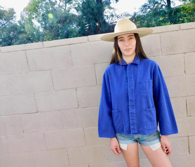 French Chore Coat // vintage 70s faded hippy jean jacket boho hippie blouse shirt dress 1970s oversize denim work painters // O/S by FenixVintage