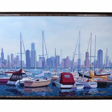 Huge 1980's Oil Painting Sailboats w Chicago Skyline Cityscape from Monroe Harbor by PrairielandArt