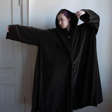 Hooded Brown Velvet Coat | Romeo Gigli by FemaleHysteria