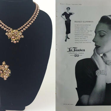 French Sophistications - Vintage 1940s 1950s Chestnut Brown & Gold Faux Pearl Choker Necklace Earring Set by RoadsLessTravelled2
