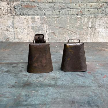 Pair of Vintage Midwest Cowbells Rustic Farm Decor by NorthGroveAntiques