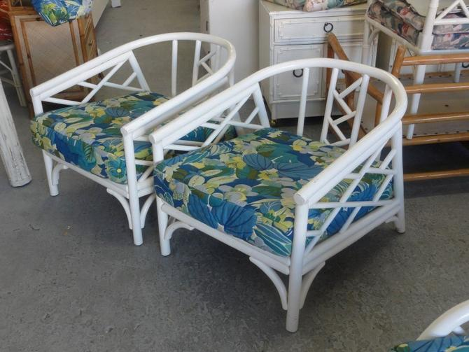 Palm Beach Rattan Chippendale Lounge Chairs