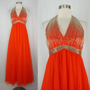 Vintage Seventies XXS Orange Beaded Halter Gown - 70s Chiffon Full Length Rhinestone Embellished Dress - Prom Formal by JanetandJaneVintage