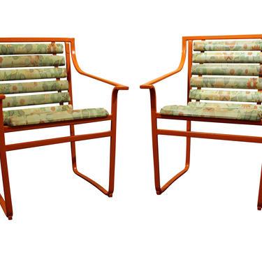 Pair of Mid-Century Modern Atomic Orange Samsonite Outdoor Scoop Seat Iron Arm Chairs by AnnexMarketplace