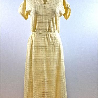 70s Cream White Sheer Grid Day Dress by citybone