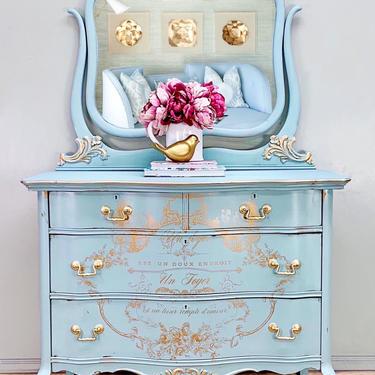 Vintage Princess Dresser, Chest of Drawers, Vanity, Hand Painted by LaVidaBellaDesign