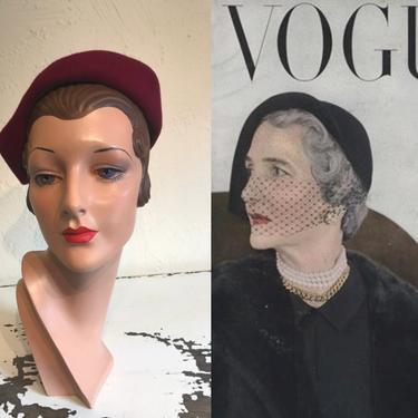 The New Majority - Vintage 1950s Burgundy Red Velour Felt Sculpted Caplet Hat by RoadsLessTravelled2