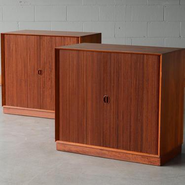 Solid Teak Peter Hvidt Mid-Century Cabinet with Tambour Doors Danish Modern - A Pair by MadsenModern