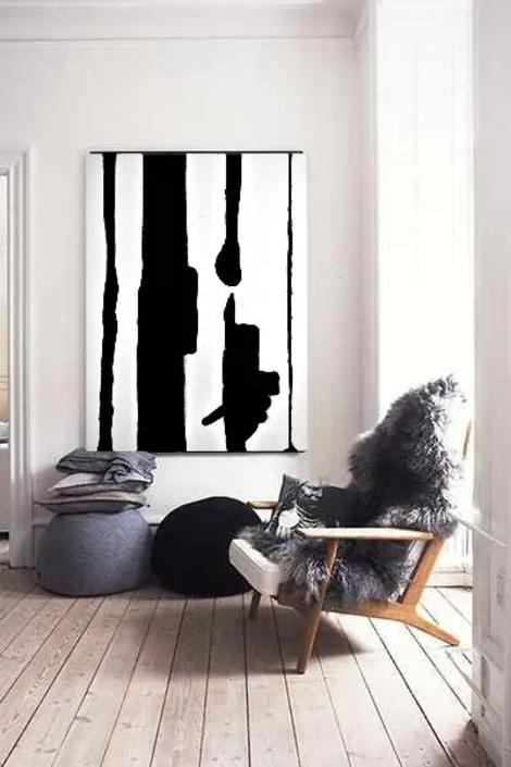 Black/White Modern 24x36 Minimalist Canvas Painting Abstract Painting Art Artwork Original Painting Contemporary Art Large by Dina by ArtbyDinaD