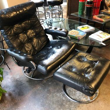 Leather Lounge Chair with Ottoman by bcdrygoods