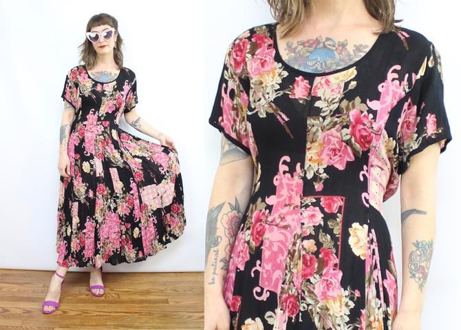 Vintage 90's Black and Pink Floral Gauze Rayon Midi Dress / 1990's Flowy Flower Dress / Spring / Women's Size Small Medium by RubyThreadsVintage