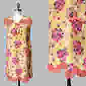 1920s Dress / 20s Floral Silk Dress / Pink Chiffon Trim / Pockets! / Capelet Back by GuermantesVintage