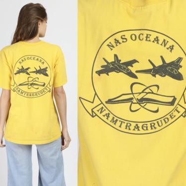 90s NAS Oceana Naval Air Base T Shirt - Men's Medium   Vintage Distressed Yellow Graphic US Navy Tee by FlyingAppleVintage