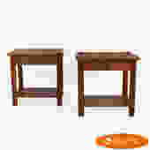 Pair of Cane and Bamboo Nightstands