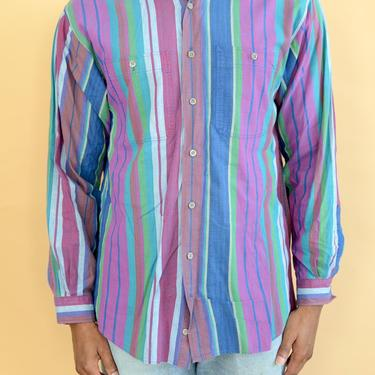 Vintage Striped Color Block Button Down Striped Shirt Long Sleeve Medium by MAWSUPPLY