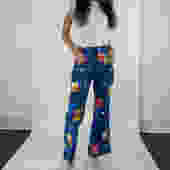 70s Patchwork Print Button Front Flared Pants