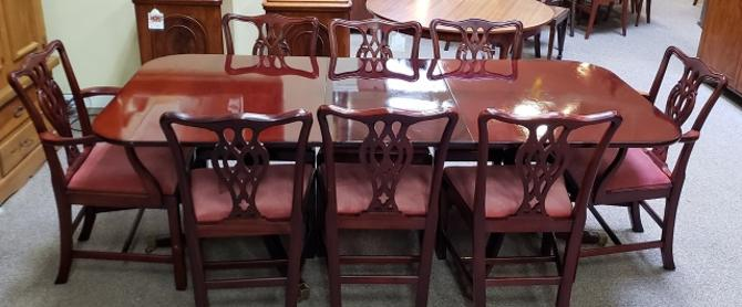 Item #S6 Vintage Mahogany Dining Set w/ Eight Chairs c.1970s