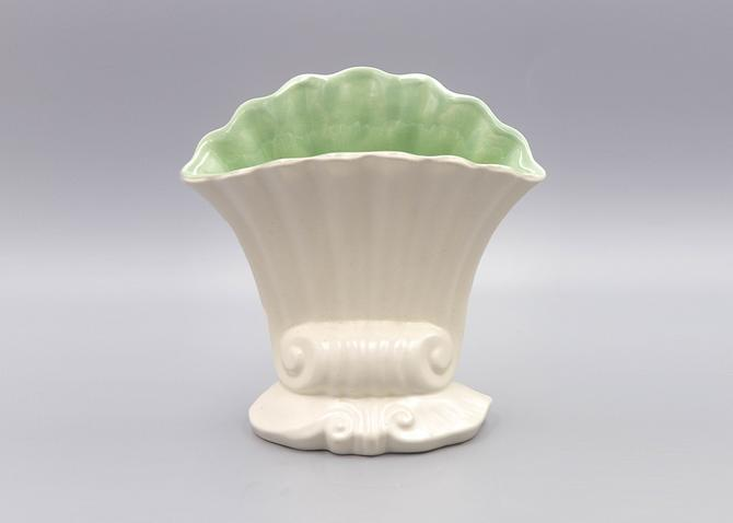 Red Wing Pottery Two Tone Shell Vase, Matte White and Pastel Green   Vintage Ohio Pottery Fan Vase 1295 by MostlyMidCenturySF