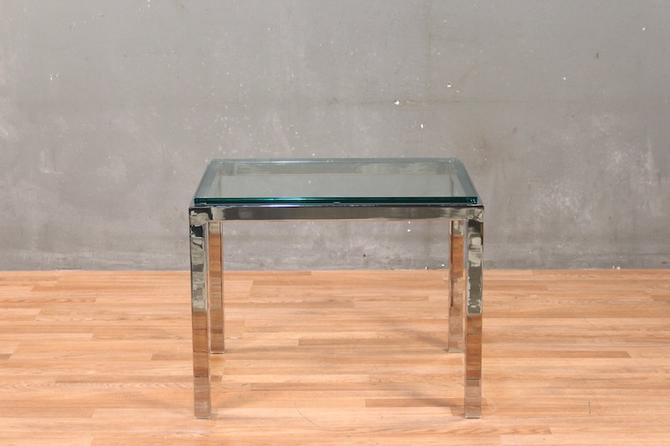 Mid Century Glass & Chrome End Table – ONLINE ONLY