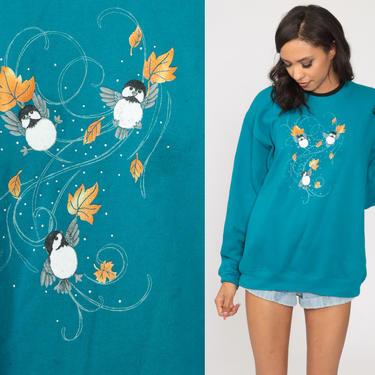 Bird Sweatshirt Blue Autumn Leaf Shirt 80s Sweatshirt 90s Jumper Fall Sweatshirt Graphic Retro Pullover Sweater Large L by ShopExile