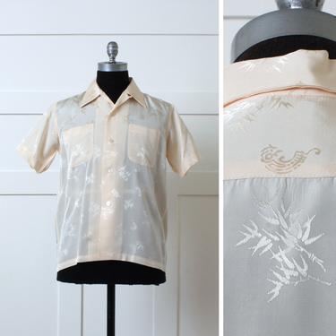 mens 1970s lightweight brocade shirt • shirt sleeve silky asian bamboo print dressy button down in light peach by LivingThreadsVintage