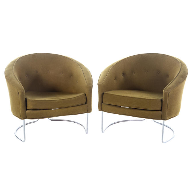 Pair of Mid Century Modern Upholstered Tub Chairs