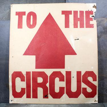 Vintage, Original Circus Poster Points the Way! Fun for Your Entryway or Playroom - Circa 1950s Circus Directional Poster | FREE SHIPPING by Bixley
