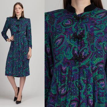 80s Grunge Paisley Velvet Collar Midi Dress - Petite Medium | Vintage Long Sleeve Frog Knot Button Purple Green Dress by FlyingAppleVintage