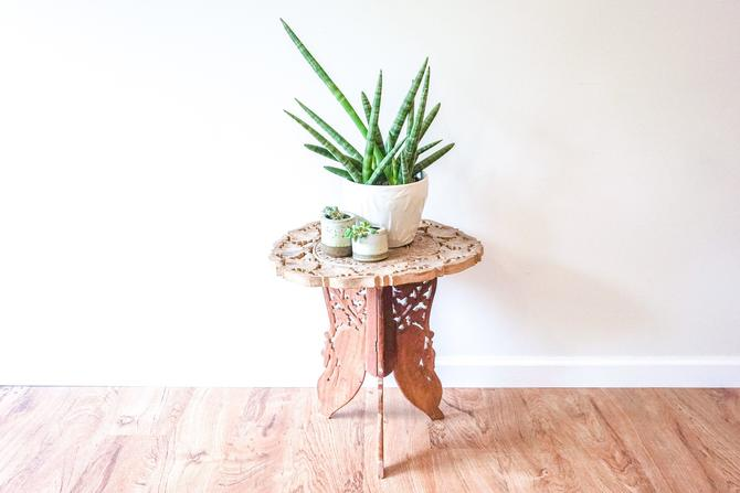 Hand Carved Bohemian Vintage Moroccan Accent Table by PortlandRevibe
