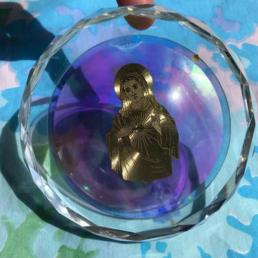 Vintage Glass Coaster, Iridescent Rainbow Glass Cut Charging Coaster with Gold Virgin Mary Emblem by AMORVINTAGESHOP