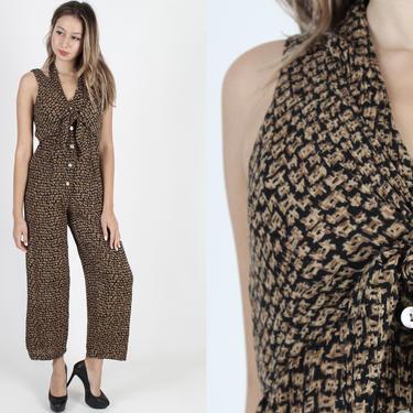 Vintage 90s Grunge Jumpsuit 1990s Black Jumpsuit Halter Playsuit Vest Boho Festival One Piece Button Up Womens Maxi Pant Suit Playsuit by americanarchive