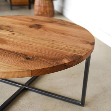 Modern Round Coffee Table / Reclaimed Wood + Metal Base Coffee Table / Industrial Coffee Table by wwmake