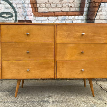Vintage Paul Mccobb planner group modern mid century 6 drawer blonde maple dresser tapered legs aluminum ring pulls by symmetrymodern