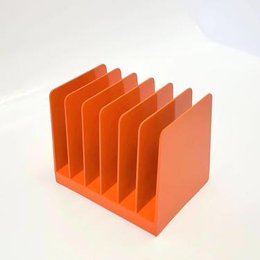 Heavy Plastic Holder Orange Record Album Desk Office Organizer Mail Sorter Letter Decor Inbox Bill Slot Box Desktop Filing System Magazine by MakingMidCenturyMod