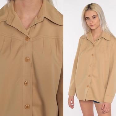70s Tan Shirt Dagger Collar Shirt Button Up Shirt Long Sleeve Top Disco Blouse 1970s Collared Plain Polyester Shirt Medium Large by ShopExile