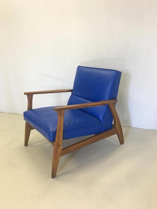 Mid Century Modern Blue Vinyl Lounge Chair by retrocraftdesign