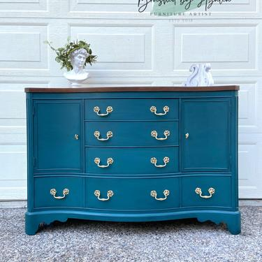 Solid wood mahogany solid buffet / credenza / tv stand / sideboard / entry way table refinished teal by RelovedFurnitureStor