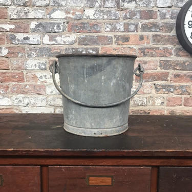 Vintage Industrial Galvanized Heavy Duty Bucket Riveted Rustic Garden by NorthGroveAntiques