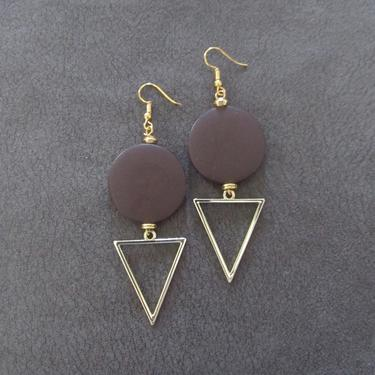 Large chocolate earrings, Geometric earrings, African Afrocentric earrings, bold statement earrings chunky earrings, unique Art Deco, gold by Afrocasian