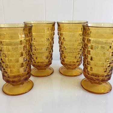 Vintage Iced Tea Glasses Set of Four (4) Indiana Glass Whitehall Pattern Amber Yellow Highball Glasses 1960s by CheckEngineVintage