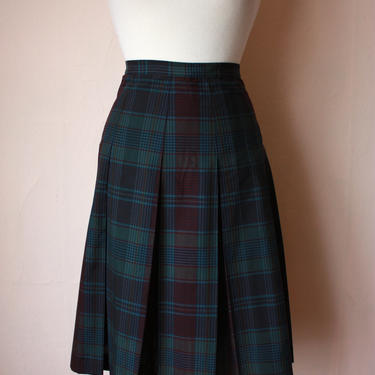 60s Plaid Pleated Skirt Preppy Schoolgirl Size XS / S by NoSurrenderVintage