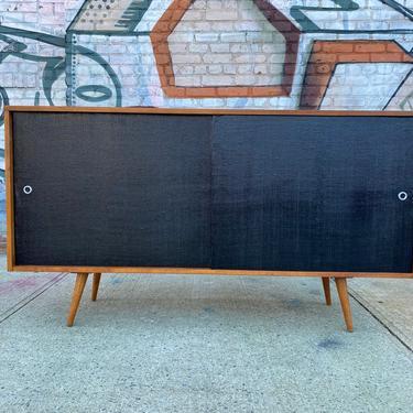 "Paul mccobb mid century modern credenza sideboard dresser maple 4 drawer tobacco finish black doors tapered legs 60"" by symmetrymodern"