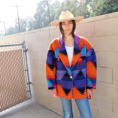 Pioneer Wear Jacket // wool boho hippie blanket dress coat blouse southwest southwestern 70s 80s // O/S by FenixVintage