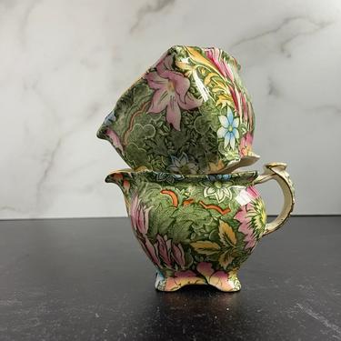 Vintage Royal Winton Chintz Sugar Bowl and Creamer Set - Floral Garden Green, Athena shape by theHeirloomYard